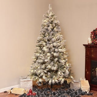 Link to Pre-Lit Clear LED 7ft Artificial Flocked Tree with Metal Stand Similar Items in Christmas Greenery