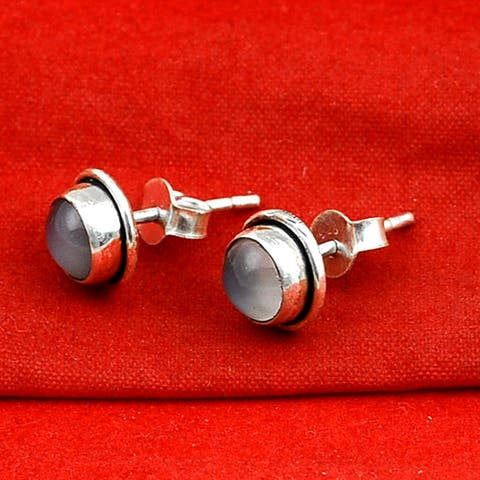 Moonstone Sterling Silver Round Stud Earrings By Orchid Jewelry
