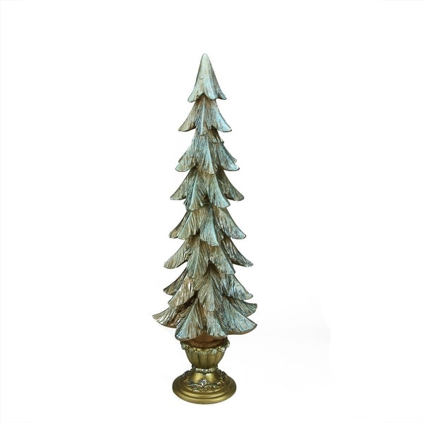 """24"""" Potted Copper and Blue Glittered Christmas Table Top Tree Decoration - GOLD"""