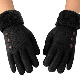 Link to Double Layer Classic Cable Knit Plush Fleece Lined Winter Gloves Similar Items in Gloves