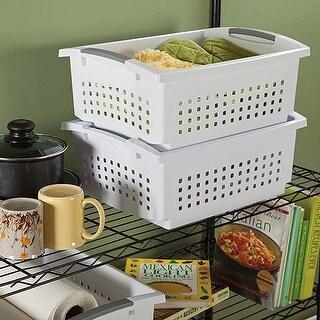 "17.125""X13""X15"" White - Sterilite Large Stacking Storage Basket"