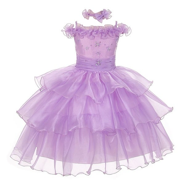 The Rain Kids Baby Girls Lilac Organza Off Shoulder Flower Girl Dress 6-24M