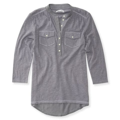 Aeropostale Womens Solid Popover Henley Shirt