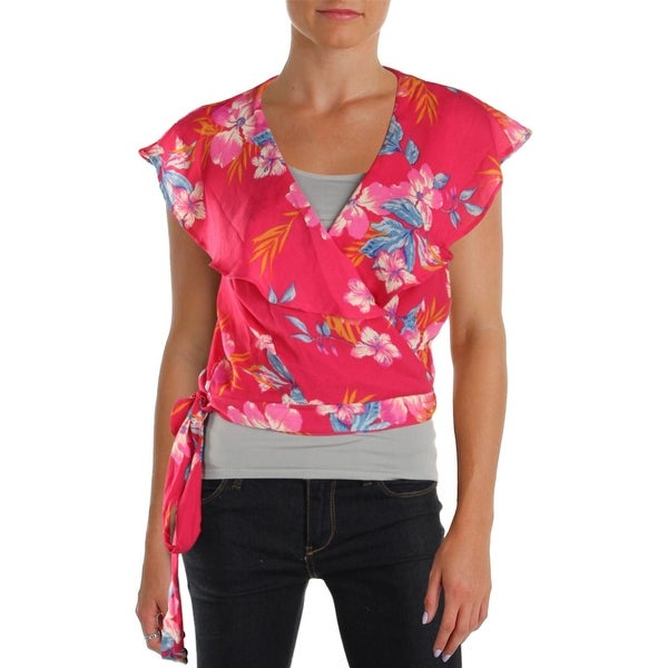 BCX Womens Wrap Top Floral Printed Ruffled