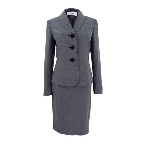 Le Suit Women's Dot-Print Shawl-Collar Skirt Suit (4, Black/White) - Black/White - 4
