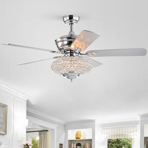 """52"""" Deneb 5 Blade Crystal Ceiling Fan with Remote Control and Light Kit Included"""