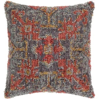 "Link to Dakoto Medium Grey & Orange Bohemian Shag Throw Pillow Cover (18"" x 18"") Similar Items in Decorative Accessories"