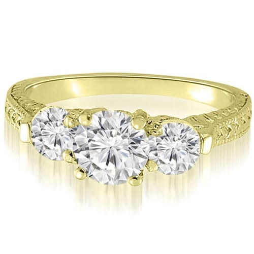 0.85 cttw. 14K Yellow Gold Antique Three-Stone Round Diamond Engagement Ring