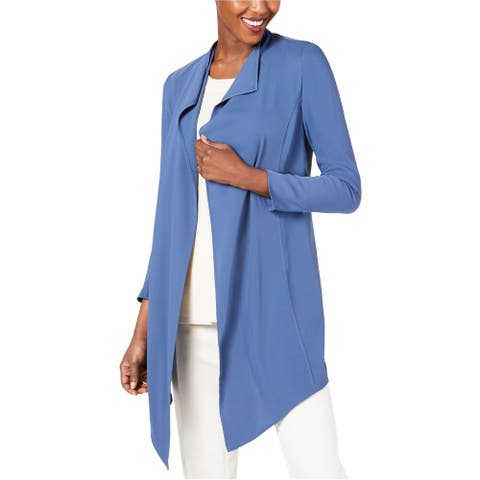 Anne Klein Womens Asymmetrical Jacket, blue, Medium