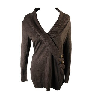 Inc International Concepts Heather Brown Buckle Faux-Wrap Tunic Sweater L
