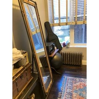 Revo III Industrial Antique Black Framed Free-standing Mirror by FOA - Antique Black