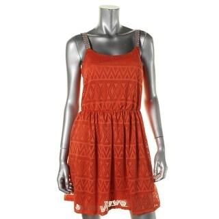 Trixxi Womens Juniors Crochet Embroidered Casual Dress - M