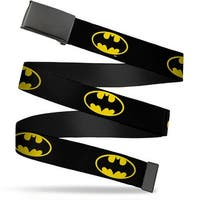 "Blank Black 1.25"" Buckle Batman Shield Black Yellow Webbing Web Belt 1.25"" Wide - M"