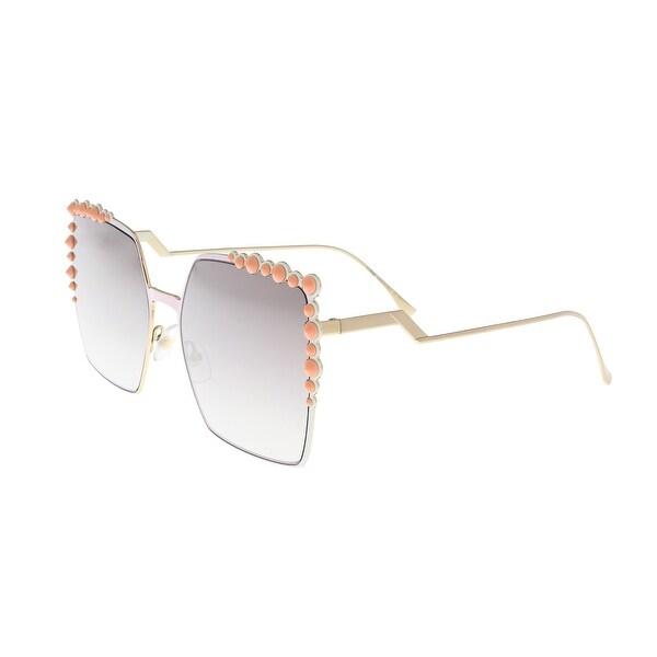 71437cd3c4f6 Shop Fendi FF 0259 S 035J Square Pink Sunglasses - Free Shipping ...