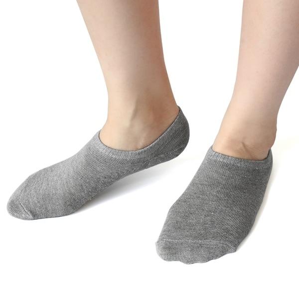 1 Pair Light Gray Moisturizing Dry Skin Gel Heel Boat Loafer Socks for Ladies