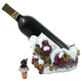 Snow Grapes Wine Bottle Holder with Bottle Stopper