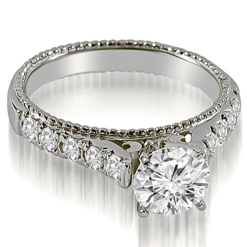 1.25 cttw. 14K White Gold Vintage Cathedral Round Cut Diamond Engagement Ring