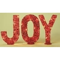 "3-Piece Red Pre-Lit Glitter Sequined ""Joy"" Christmas Tabletop Signs 14"""