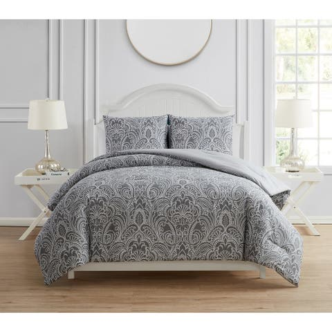Tahari Home Abby Grey Damask Comforter Set