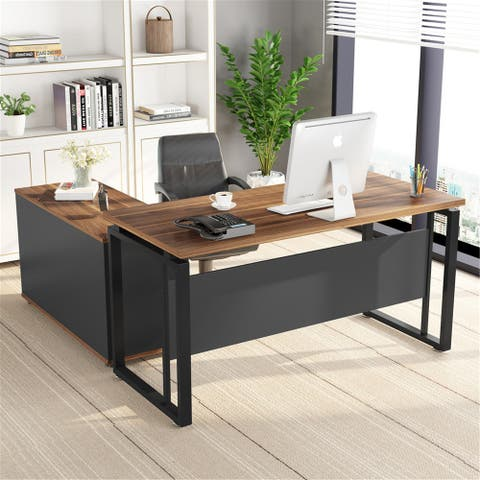 55 Inches Computer Desk with Mobile File Cabinet