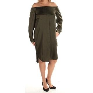 DKNY $298 Womens New 1418 Green Off Shoulder Cuffed Shift Dress L B+B