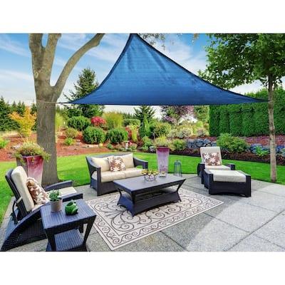 Boen Triangle Sun Shade Sail Canopy Awning UV Block for Outdoor Patio Garden and Backyard - Blue - 12'x12'x12'