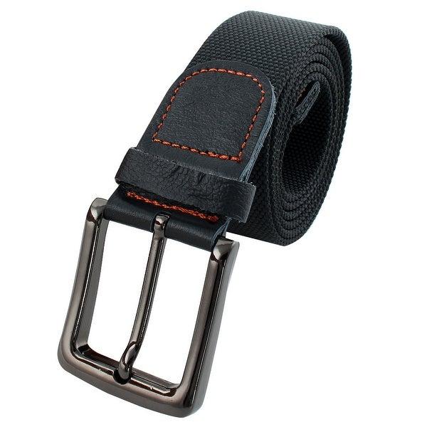 Unisex Outdoor Casual Nylon Adjustable Canvas Web Waist Belt Black