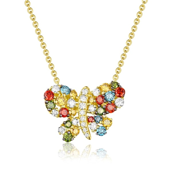 Butterfly Necklace, 1.02 TCW Round Cut G-H/SI1 Multi Color Diamond With White Diamond