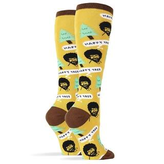 Bob Ross Happy Tree Women's Knee High Socks|https://ak1.ostkcdn.com/images/products/is/images/direct/d36668429a6c856100f1d780cd14f7516f1e6f9d/Bob-Ross-Happy-Tree-Women%27s-Knee-High-Socks.jpg?impolicy=medium