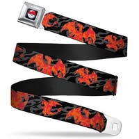 Pok Ball Full Color Charizard Silhouette Poses Flames Black Gray Orange Seatbelt Belt