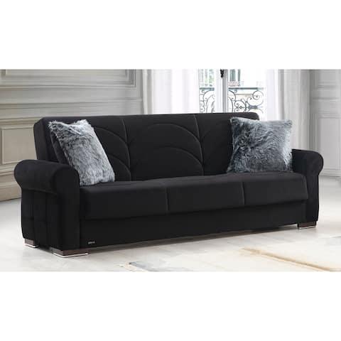 Amarillo Black Velvet Upholstered Convertible Sleeper Sofa with Storage