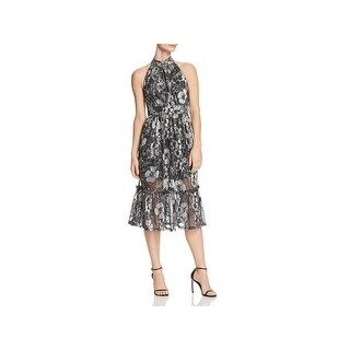 MICHAEL Michael Kors Womens Midi Dress Metallic Party