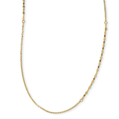 Curata 14k Italian Yellow Gold 2mm Polished and Brushed Fancy Bead Necklace, 36""