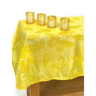 Awesome 2 Summer Bloom Yellow Butterfly Tablecloth And Votive Candle Holder Sets