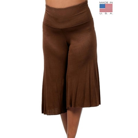 Plus Size Women's Gaucho Pants 3/4 Long Palazzo Pants Loose Fit Waist Band 1XL 2XL 3XL More Colors Available