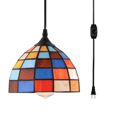 Simplicity Tiffany glass on/off dimmer switch plug in pendant light