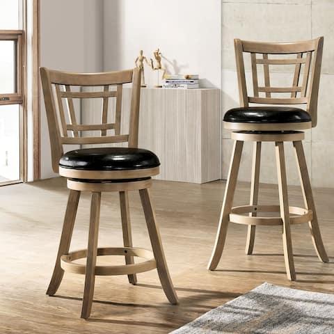 Furniture of America Vaza Transitional Solid Wood Swivel Barstool