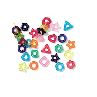 Roylco Assorted Shape Fancy Stringing Ring, 5/8 X 5/16 in, Assorted Color, 1/4 lb