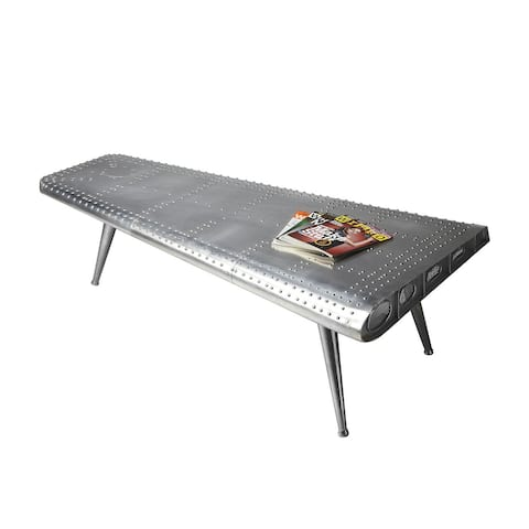 """Modern Aluminum Triangular Cocktail Table in Metalwork Finish - Silver - 59-1/2""""W x 32""""D x 19""""H"""