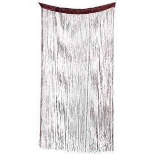 Restaurant Sparkling Straight Line Tassel Divider String Curtain Chocolate Color - MultiColor