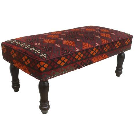 "Antique Rasmusse Burgundy/Rust Kilim Upholstered Settee - 48""x24""x21"""
