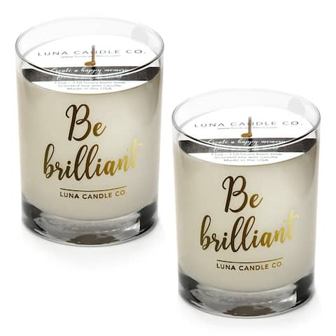 Fresh Lemon Scented Jar Candle, Premium Soy Wax, Slow Burn (2 Pack)