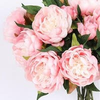 "G Home Collection Luxury Silk Peony Stem in Light Pink  20"" Tall"