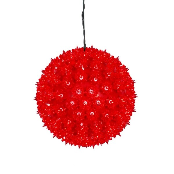 """10"""" Red Lighted Hanging Star Sphere Christmas Decoration"""