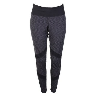 Ideology Plus Size Black Space-Dyed Print Mesh-Trimmed Active Leggings 1X