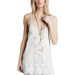 Free People Womens Seafaring Tank Top Embroidered Lace-Up Back
