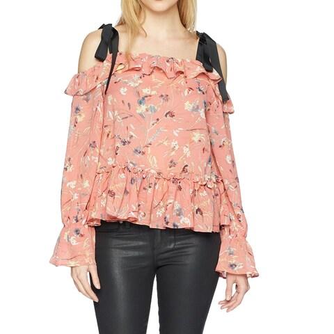 William Rast Pink Womens Size Small S Fabiana Convertible Peplum Top