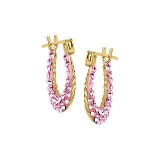 Girl's Hoop Earrings with Rose Swarovski Crystal in 14K Gold - Pink