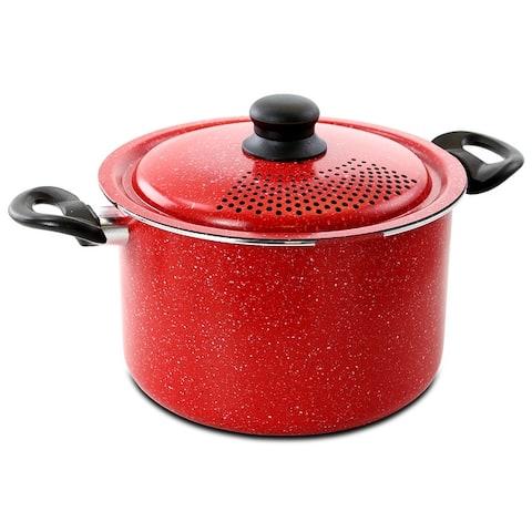 Gibson Granita 6 Quart Aluminum Pasta Pot with Strainer Lid in Red Speckle