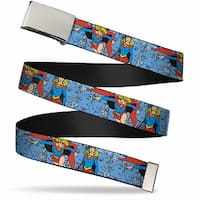 Blank Chrome Buckle Supergirl Action Poses Expressions Webbing Web Belt
